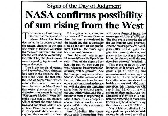 Matahari Akan Terbit Dari Barat